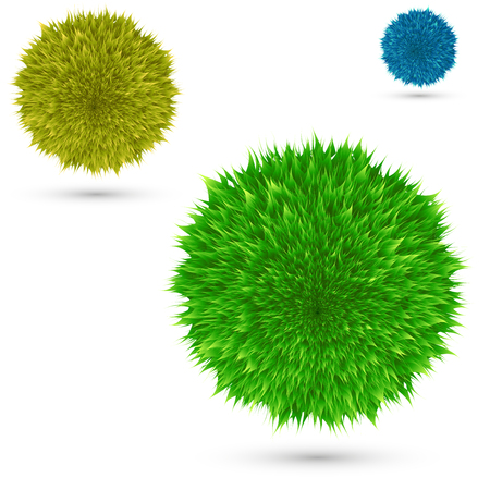 Set color fluffy vector ball on white