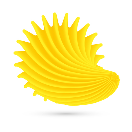 Yellow shell on white background. Illustration
