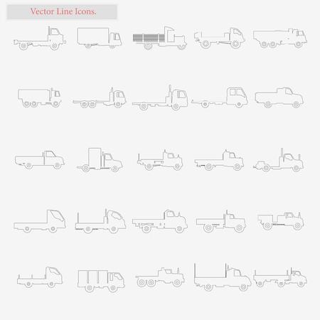 Truck Set vector stijl lijn iconen op wit