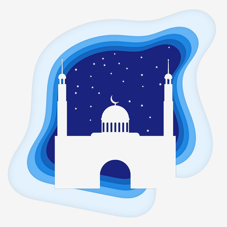 Mosque paper stlyle with stars Vector