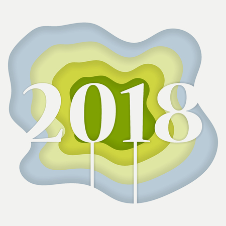 2018 happy new year concept paper style Vector