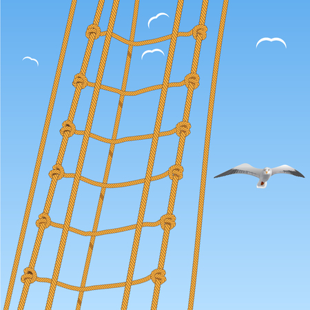 Seagulls and rope on blue sky Vector Illustration
