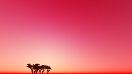 Red dusk one tree 3D render