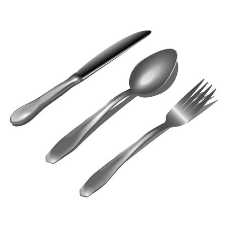 Realistic metal cutlery on white background Vector illustration Illusztráció