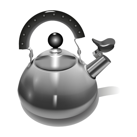 Metal Teapot realistic style. Vector illustration. 일러스트