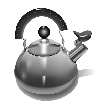 Metal Teapot realistic style. Vector illustration. Illustration