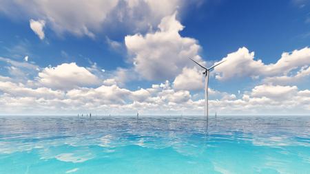 Wind turbine generating electricity on sea 3D render Stock Photo