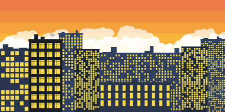 Sunset Over The City. Vector illustration.