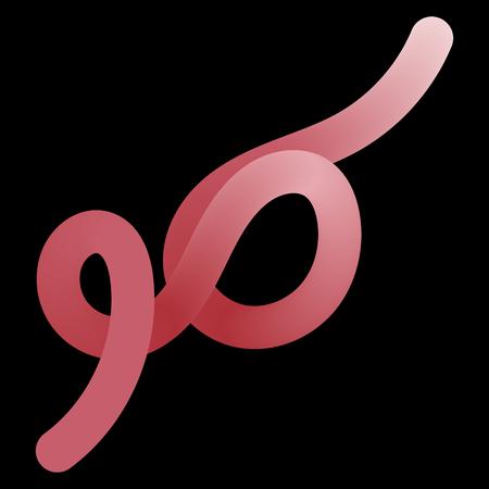 Red worm on black background Vector illustration.