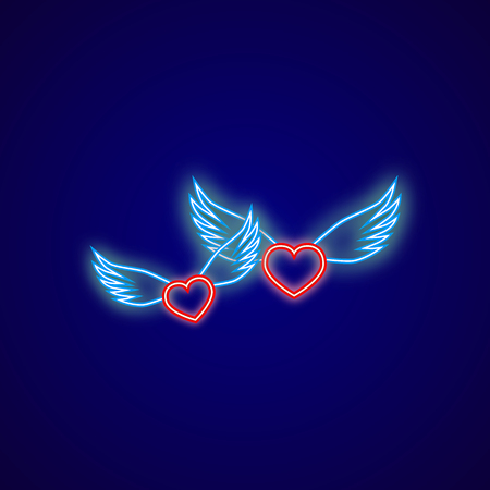 Two neon hearts with wings on a blue background Vector Illustration