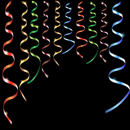 Colorful serpentine on a black background. Vector illustration.