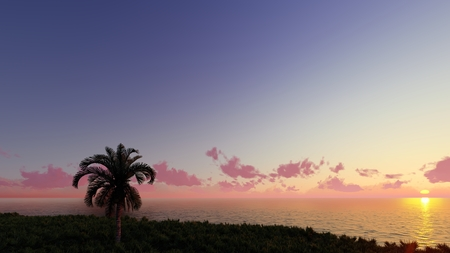 Nice sunset 3D render 스톡 콘텐츠