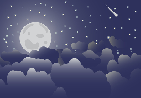 The moon in the night sky and clouds Vector illustration