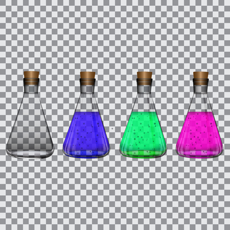 Chemical flasks with reagents on a transparent background Vector illustration