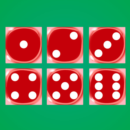 Red dices on a green background Vector illustration Çizim