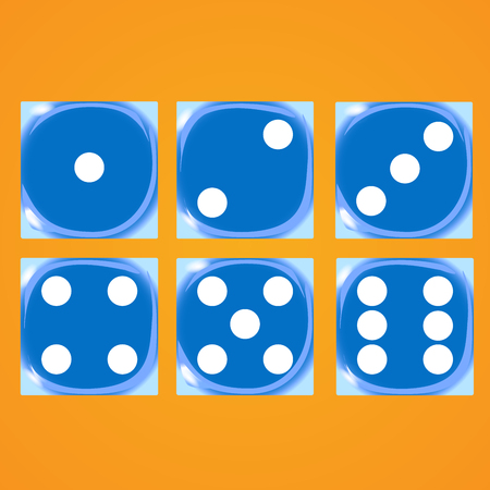 Blue dices on an orange background Vector illustration
