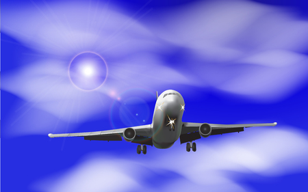 Realistic airplane on a background of blue sky with clouds Vector illustration Illustration