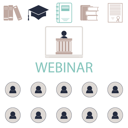 Webinar online conference lectures and training in internet. Vector illustration Stock Photo
