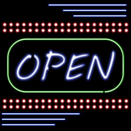 Open Shop Neon light sign. Vector .