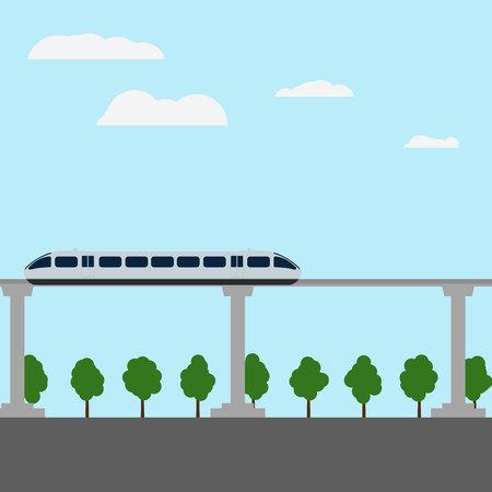 Maglev rail train vector illustration.