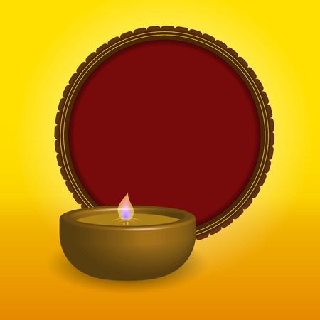 Shubh Happy Diwali festival oil lamp with a red circle Vector Illustration