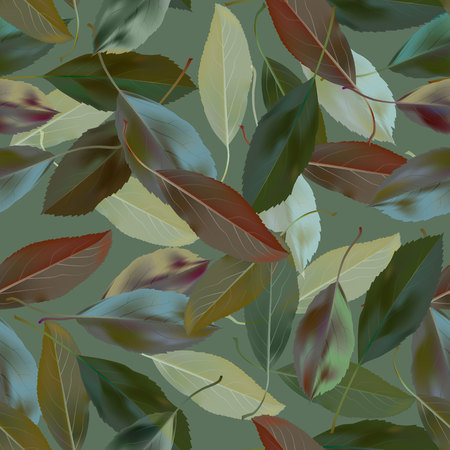 Green leaves seamless pattern Vector illustration