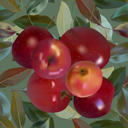Red apples on green Vector illustration Ilustrace