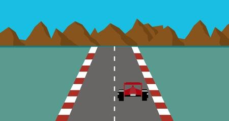 Retro pixel art style race car game Vector illustration