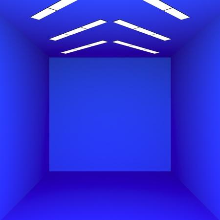 Blue room minimalism 3d render