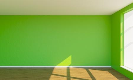 3d render green bedroom