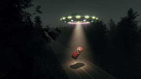 Fantasy flying saucer ufo car at road night