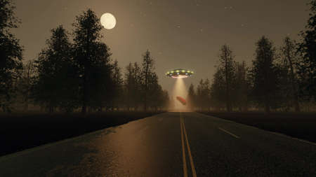 Fantasy future 3d UFO stole red car at night 3d rendering