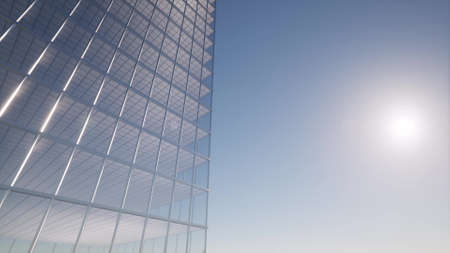 Office building windows Modern design interior and aerial view on skyscraper 3d rendering