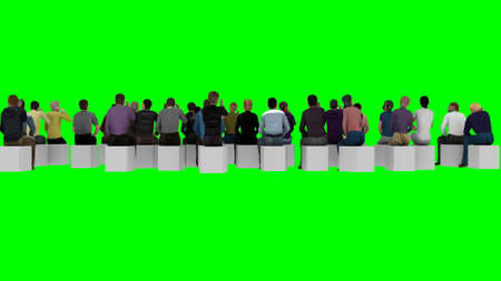 People sit on chairs with their backs to the camera on a green background for TV montage 3d rendering
