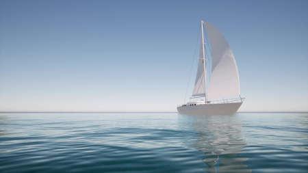 Sailboat on calm water For lifestyle design Summer landscape 3d render Archivio Fotografico