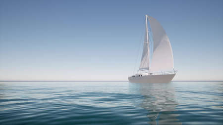 Sailboat on calm water For lifestyle design Summer landscape 3d render Stockfoto