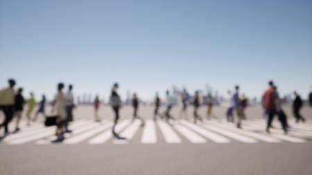 Zebra Crowd of people deep of focus 3d render