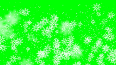 Xmas winter green background Snowfall snow Merry Christmas particles fly in slow motion in the air 3d render