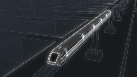 Maglev magnetic levitation train in sci fi futuristic style 3d render