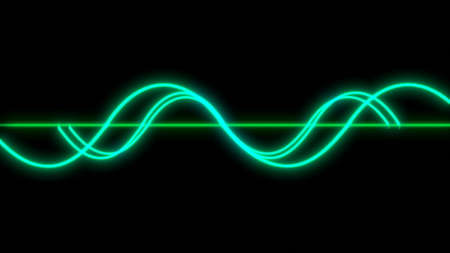 Oscilloscope green curve lines electronic waves 3d render
