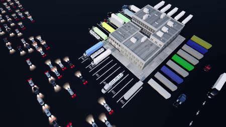 Large logistics park Logistic transportation concept Concept: business packing big trucks 3d render