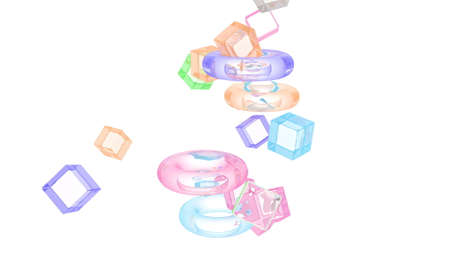 Colored glass soft body physics cubes fall on a transparent torus 3d render