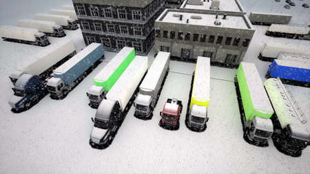 Top aerial view of large logistics park snow Industrial technology concept 3d render