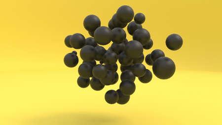 Memphis black 3d spheres on yellow Digital design concept Simple geometric objects 3d render Standard-Bild