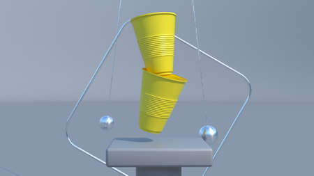 Yellow plastic cups 3d podium Modern scene interior 3d render Standard-Bild