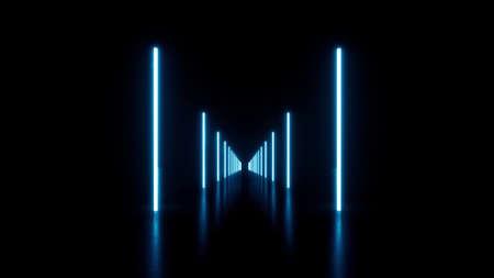 Blue Lines neon tube lights Space modern glow corridor technology room 3d render Standard-Bild