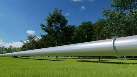 Oil and gas metal pipeline tube industry concept green landscape 3d render