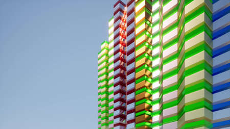 Colored facade building in modern style. Beautiful blue sky view Abstract future architecture city background 3d render