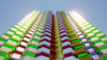 Color Building facade Blue sky Urban city modern architecture 3d render