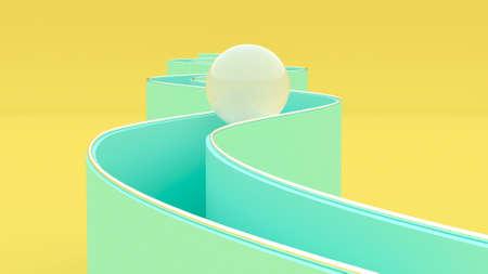 3d minimal motion design Infinite Loop Animation the ball is rolling downhill 3d render Standard-Bild
